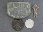 Lot: 5282 - TOKEN, BELT BUCKLE & SILVER PENDANT