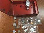 Lot: 76 - Gold Nugget, Coins, Watch & Rings