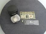 Lot: 5310 - (2) $2 BILLS, WATCH & 18K WATCH LINK