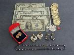 Lot: 5313 - SILVER CERTS., '63 $5 BILL, EARRINGS & 14K RING