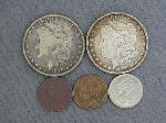 Lot: 5335 - (2) MORGAN DOLLARS, NICKELS & FOREIGN COINS