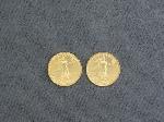 Lot: 5347 - (2) 2004 U.S. EAGLE FIVE DOLLAR 1/10 OZ. GOLD COINS