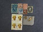 Lot: 5377 - (10) FOREIGN STAMPS & 14K TIE PIN