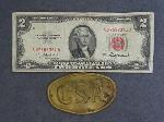 Lot: 5482 - 1953A RED SEAL $2 BILL & CSA BELT BUCKLE