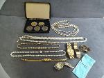 Lot: 5488 - WATCHES, BRACELET, NECKLACES & STERLING SPOON