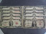 Lot: 5558 - 1935A HAWAII $1 BILL & (9) 1953 $2 RED SEAL BILLS