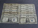 Lot: 5561 - (10) BLUE SEAL $1, '53 $5 BILL & (2) RED SEAL $2 BILLS