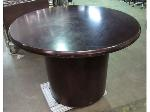 Lot: 55-036 - 36in Dark Wood Round Pedestal Table