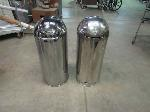 Lot: 55-047 - (2) Chrome Bullet Trash Cans