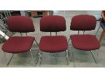 Lot: 55-056 - (3) Burgundy Stacking Chairs
