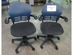 Lot: 55-079 - Pair of Blue Rolling Office Chairs