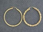 Lot: 5695 - (2) 14K SINGLE HOOP EARRINGS