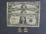 Lot: 5710 - (2) 1950A $10, 1957B $1 SILVER CERT. & (2) 14K RINGS