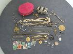 Lot: 5712 - BRACELETS, LAPEL PINS, STERLING RING & BRACELET