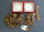 Lot: 5730 - NICKEL, PENNIES & (2) 1987 SILVER EAGLE COINS