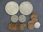 Lot: 5734 - NICKELS, PENNIES, FOREIGN & (2) PEACE DOLLARS