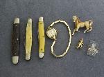 Lot: 5742 - WATCH, POCKET KNIVES, PENDANTS & 10K RING