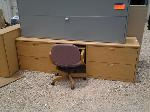 Lot: 46&47 - Desk, Chair, Cabinets & Wood cabinet
