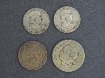 Lot: 67 - (2) 1950 FRANKLIN HALVES & (2) FOREIGN COINS