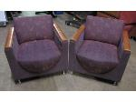 Lot: 57-029 - (2) Upholstered Chairs w/ Wooden Arms