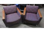 Lot: 57-030 - (2) Upholstered Chairs w/ Wooden Arms