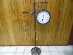Lot: A7327 - Wrought Iron Clock/Thermometer Plant Holder