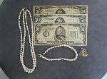Lot: 5996 - (3) $50 BILLS, 18K PUZZLE RING & PEARL LIKE NECKLACE