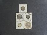 Lot: 6054 - SILVER 1 TROY OZ. HOLIDAY ROUND & (4) FOREIGN COINS