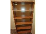 Lot: 45&46 - Wood Bookshelf & L-shaped Desk w/ Hutch