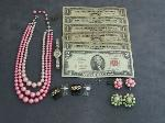 Lot: 6121 - RED & BLUE SEAL NOTES, RINGS, WATCH & EARRINGS