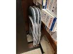 Lot: 33&34.SPE - TABLE DESK,  CHAIRS, FLYER INFO STAND & TRASH LIDS