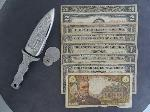 Lot: 6218 - 1950 $20, 1963 RED SEAL $2, KNIFE & TOKENS