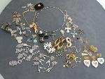 Lot: 6222 - LAPEL PINS, EARRINGS, NECKLACES & SILVER RINGS