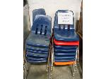 Lot: 412 - (25) MIX COLORS STUDENT BLUE CHAIRS