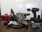 Lot: 06 - CRAFTSMAN MITER SAW, CORDLESS DRILL & WEEDEATER