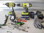 Lot: 209 - TOOL BAG W/ DRILLS, VICE GRIPS, BATTERY, GLOVES