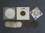 Lot: 348 - LIBERTY SILVER DOLLAR, QUARTERS & LARGE CENTS