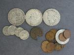 Lot: 3 - MORGAN & PEACE DOLLARS, LARGE CENT & NICKELS