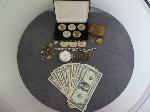 Lot: 26 - WATCH, CUFFLINKS, SILVER NECKLACE & $1 BARR NOTES