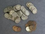 Lot: 27 - LARGE CENT, BUFFALO NICKELS, DIMES & FOREIGN COINS