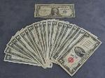 Lot: 6417 - $1 BLUE SEAL BILLS & (20) $2 RED SEAL BILLS