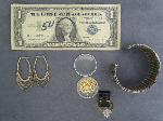 Lot: 6431 - BRACELET, RING, $1 SILVER CERT. & GOLD CHIPS