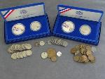Lot: 72 - PROOF SETS, DIMES, NICKELS, PENNIES & FOREIGN COINS