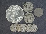 Lot: 88 - AMERICAN SILVER EAGLE, STANDING QUARTERS & DIMES