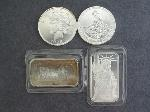 Lot: 90 - SILVER ROUNDS & SILVER BARS