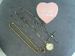 Lot: 92 - NECKLACE W/10K RING, NECKLACE W/SILVER CROSS