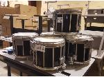 Lot: 2-BAND - (5) Marching Snare Drums, Carriers & Cases