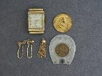 Lot: 6651 - HAMILTON WATCH FACE, TOKEN & 14K EARRINGS