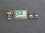 Lot: 582 - CUFFLINKS, STAMP & 10K RING