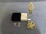 Lot: 593 - WATCH, NECKLACE, RING & 10K LAPEL PIN